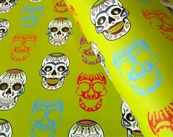 Sugar Skull Wrapping Paper, Dia De Los Muertos, Day of the Dead, 29x20 inches each, shipped rolled in tube