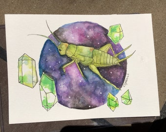 Cricket In Space! - Original 5 x 7 Watercolor Painting
