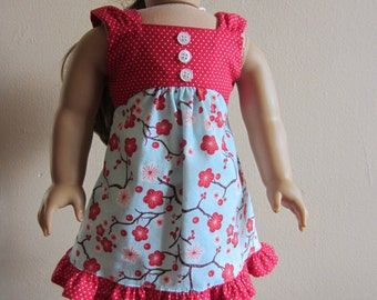 American Girl Doll Clothes - Red and Teal Summer Tea Dress