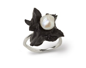 Platinum, Dinosaur Vertebrae and Pearl Ring