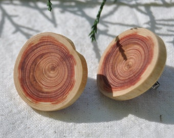 Western Red Cedar Earrings, Wood Stud Earrings, Wood Slice Jewellery, Wood Slice Earrings, Natural Wood Earrings, Wooden Jewelry