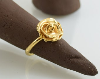 gold ring, Gold ring, Wedding ring, Gift ring, Unique statement ring, Special ring, Free Shipping, Designed ring, Sculpted ring, Rose RG4