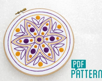 Rangoli Embroidery Pattern, Mandala Hand Embroidery Download, Geometric Flower Needlecraft Download, Diwali Crafts PDF, Hoop Art Tutorial.