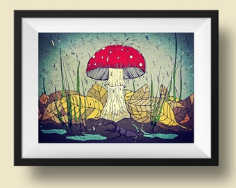 Toadstool & Stag Beetle - A3 high quality print of original artwork
