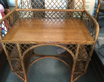 Heywood Wakefield Oak and Wicker Desk