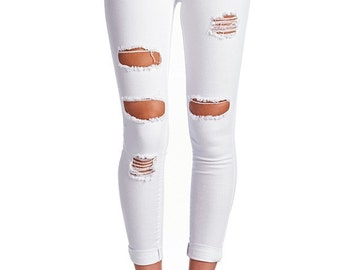 The All Torn Up- White Distressed Skinny Jeans