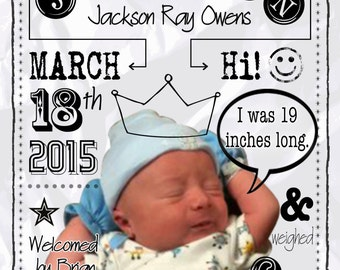 Custom Boy Birth Announcement Digital Download