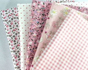 "Sewing 5 Pink Assorted Pre Cut Charm 10"" Squares Quilt Cotton Fabric"