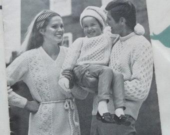 Joanna Lumley modelling Vintage 1970s Harmony Aran knitting pattern book