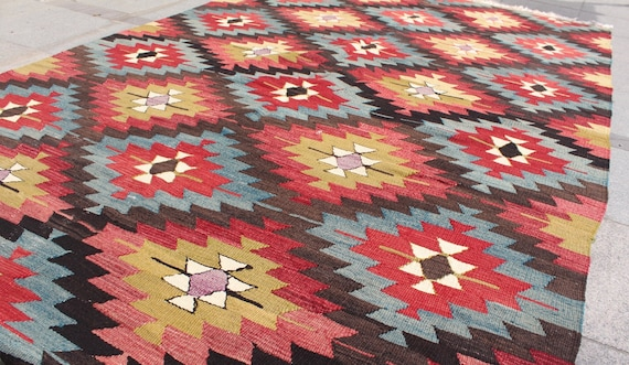 Colorful vintage kilim rug 8x5 ft