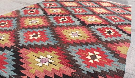 Colorful vintage kilim rug 8x5 ft