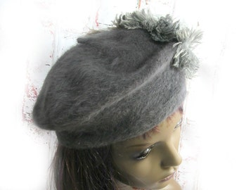 wool beret - grey beret -Women's beret - french beret - hats and caps - gift for her -  # 34
