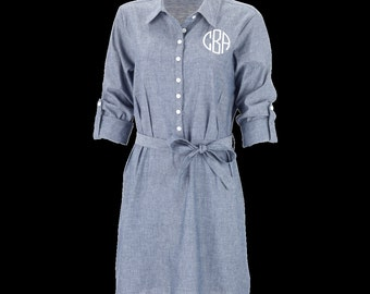 Monogram-able Chambray Dress by Wholesale Boutique
