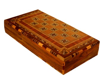 Wooden chess set / backgammon set / chess board / wooden chess board / backgammon / Mosaic / Marquetry / inlay with Mother Of pearl / walunt