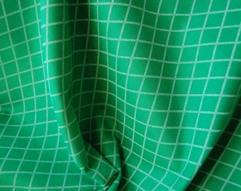 Green Diamond Dash Cotton Fabric, Quilting Fabric, Green and White Patterned, Geometric Fabric