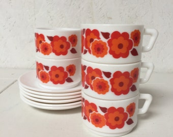 French Arcopal White glass cups and saucers made in the 1960's