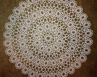 White tatted doily