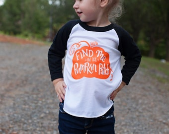 Fall shirt for kids - Pumpkin patch outfit  - fall clothes for kids - halloween shirt - my first halloween - kids baseball raglan