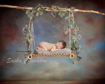 Digital backdrop newborn boy