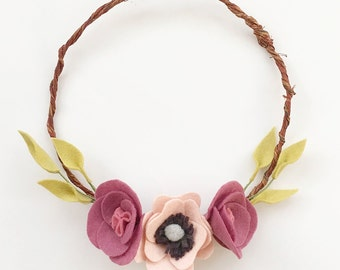 Meadhbh wreath in pink and mauve