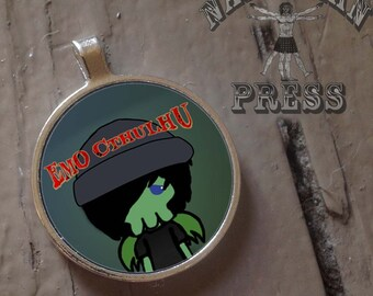 Emo Cthulhu, Round Bezel Pendant, FREE ball chain included