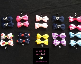 Small Hairbows perfect for pigtails baby infant toddler little girl set of 2