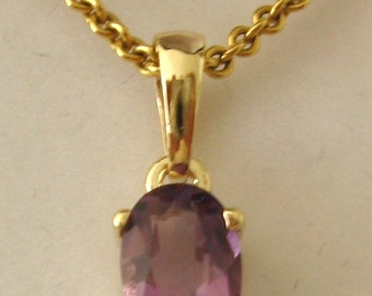 Genuine SOLID 9K 9ct YELLOW GOLD February Birthstone Amethyst Pendant