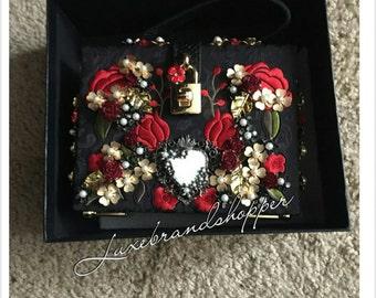 Designer flower box handbag lock handle d g style