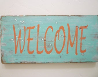 Welcome Sign, Distressed Wood Wall Hanging, Rustic, Farmhouse, French Country, Shabby Chic