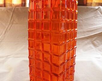 Large Vintage Geometric Orange Vase
