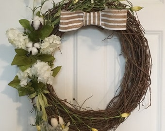 Wreath with white flowers