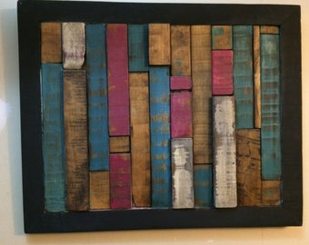 reclaimed wood wall art in blue fushia magenta ebony