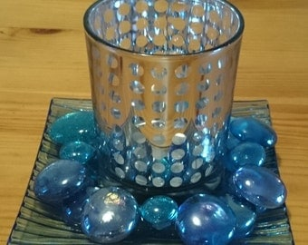 Blue glass pebble candle holder