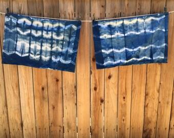 Set of Shibori Indigo Dyed Pillowcases
