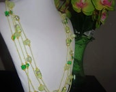 Handmade necklace, green, yellow, seed beads, glass beads, gift for her, perfect gift, fashionable necklace, beadwork, colorful