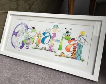 Personalised Original Watercolour Name Art 7 letters or more