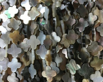 5pcs Mother Of Pearl Four Leaf Clover Beads,Four Leaf  Clover Beads For Jewelry Making