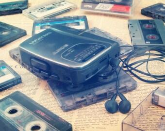 Vintage Walkman Photograph, Cassette Player Decor, 90s Wall Art, Sony Walkman Print.