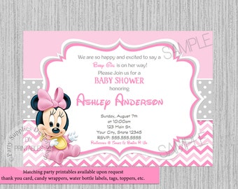 minnie mouse baby shower  etsy, invitation samples