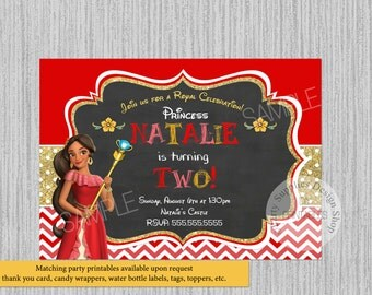 PRINTED or Digital Chalkboard Princess Elena of Avalor Birthday Invitations, Elena of Avalor Party Supplies, Princess Elena Chevron Glitter