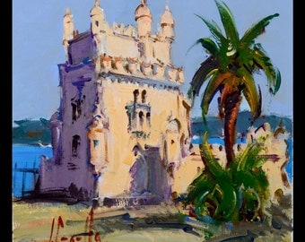 Original Art Acrylic Painting by Joan Sarquella Oliveras Belém Tower From Portugal