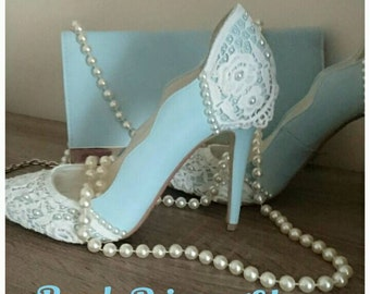 Sky blue pearl & lace wedding shoes