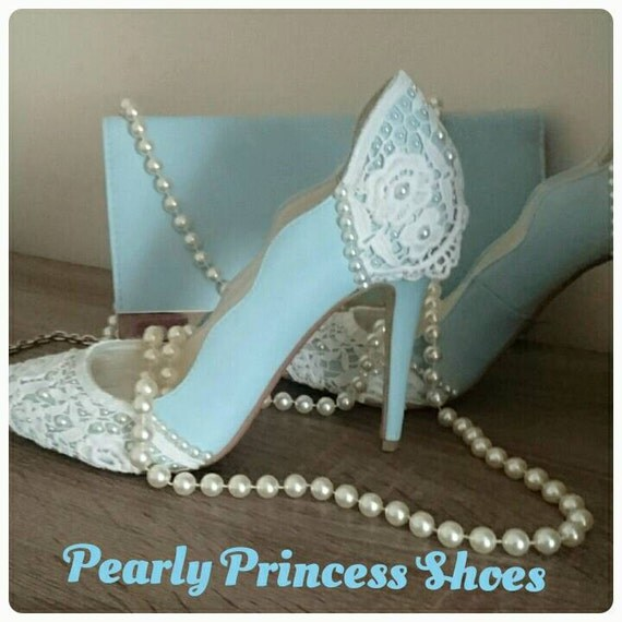 Sky Blue Pearl Amp Lace Wedding Shoes