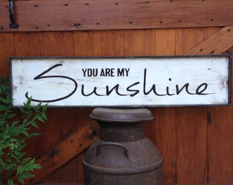"""Vintage Style Hand Painted """"You are my Sunshine"""" Wood Framed Sign Wall Décor"""
