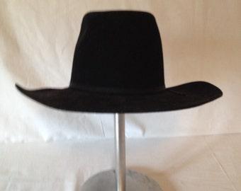 Vintage Black Wool Cowboy Hat