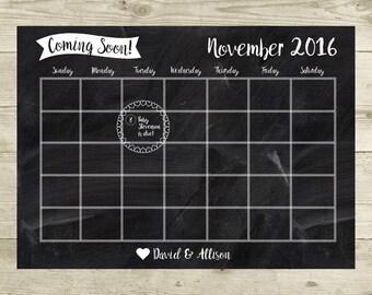 Pregnancy Announcement - Chalkboard Calendar - Due Date Reveal - Pregnancy Announcement Card Sign 8x10 - Personalized - Digital Download