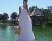 Sale long light summer white dress / elegant dress / flounce dress / sleeveless gowns / cotton dress / pleated full skirt