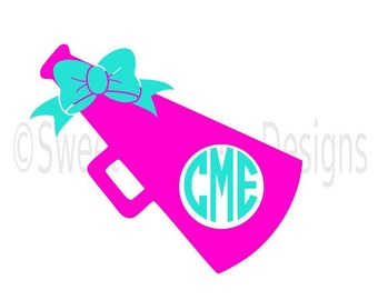 Cheer megaphone monogram with bow SVG instant download design for cricut or silhouette
