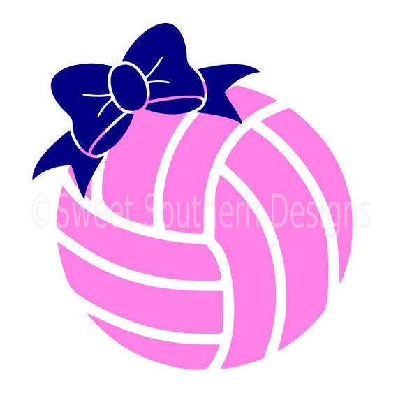 monogram volleyball with bow svg instant download design for