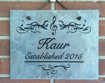 Musically-Inclined Family Name Plaque Slate